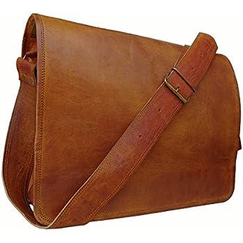 Amazon.com: Leather Messenger Satchel Shoulder Laptop Bag Men ...