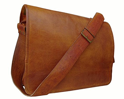 "Price comparison product image Cuero 16"" Leather Shoulder Messenger Satchel Laptop Leather Messenger Bag For Men And Women"