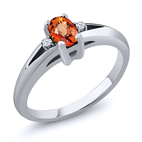 Orange Sapphire Wedding Set - 0.58 Ct Oval Orange Sapphire 925 Sterling Silver Engagement Ring (Size 7)