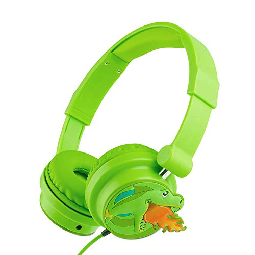 Animal Headphones with Adjustable Headband, Moear Cartoon Dinosaur Headphones for Kids Retractable Stereo Sound,3.5mm Jack for MP3 Players PC Music with Sharing Function
