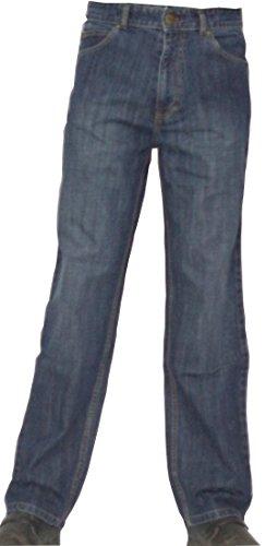 (Zeme Mens 100% Certified Organic Cotton Jeans, Relaxed Fit Blue Sandblast Wash Denim Pants)