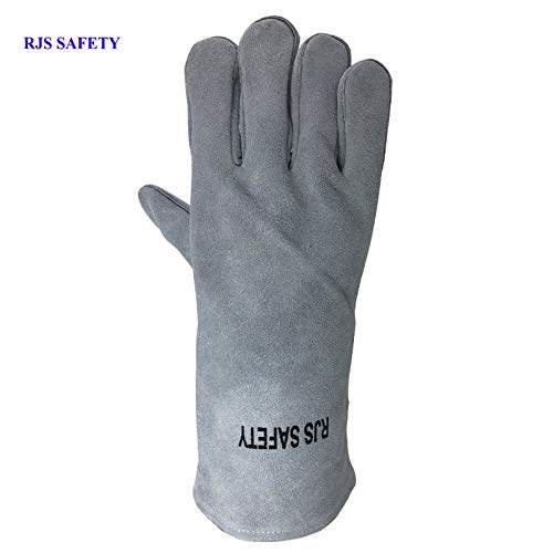 AINIYF (13.8x6.7Inches) Forge Welding & BBQ Leather Gloves, Extreme Heat/Fire Resistant With Long Sleeve For Grill/Forge/Fireplace/Tig Welder/Mig Welding/Gardening Gloves(Grey) by AINIYF (Image #5)