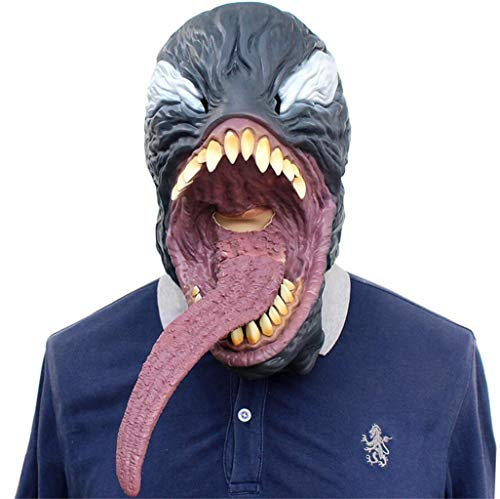 Halloween Novelty Mask Scary Halloween Costume Mask Cosplay Party Props Mask Creepy Latex Head Mask for Men (Agent Venom)