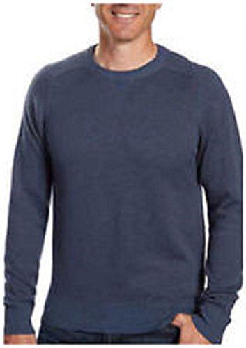 (Kirkland Signature Mens Extra Fine Merino Wool and Pima Cotton Sweater (Blue, Large))