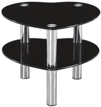 Girona Black Glass Heart Shaped Side Table Amazon Co Uk Kitchen