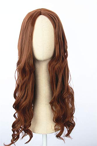 Cosplaywigscom: Scarlet Witch Wig Inspired by avengers age of Ultron Long Brown Natural Curly Central Parting PartCosplay Hair for Adults and Teens ()