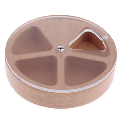 SM SunniMix Round Wooden 4 Grids Pill Tablet Box Medicine Storage Vitamins Container Case - Multipurpose - Also Can Hold The Other Little Stuff - 01