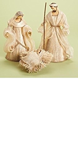3-Piece Holy Family in Burlap Look Religious Christmas Nativity Figurine Set by Roman