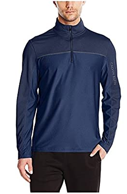 Calvin Klein Mens 1/4 Zip Long Sleeve Blue Lifestyle Shirt, XL