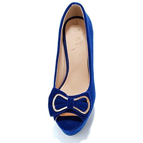 Blue Taoffen Toe Talons Femmes Aiguille Peep Plateforme Chaussures 0A1ATq