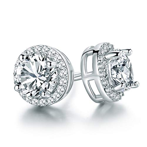 Outop Stud Earrings for Women18K White Gold Plated Round Cubic Zirconia Stainless Steel Anti-Allergy Earrings