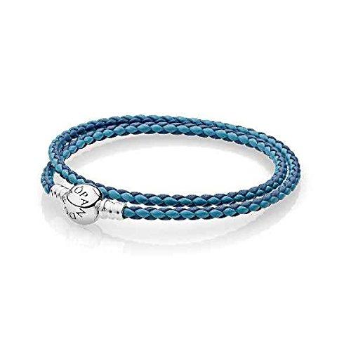Pandora Mixed Blue Woven Double-Leather Charm Bracelet 590747CBMXD2