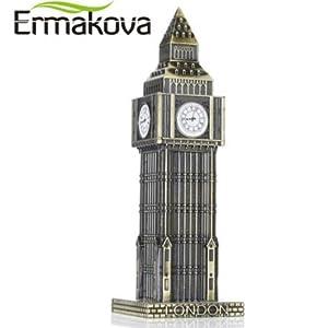 "ERMAKOVA 15.5cm(6.1"")Antique Bronze Big Ben Statue London Landmark Model Metal Figurine World Landmark Architecture Home Decor"