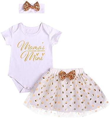 7128a2594 Newborn Baby Girls Bodysuit Skirt Set - Letter Print Romper Jumpsuit +  Sequin Dot Tutu Dress - Shiny Bow Headband 3PCS Birthday Party Outfit  Clothes Set ...