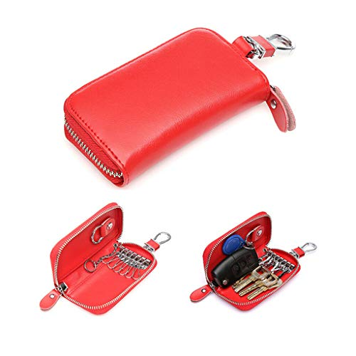 NATFUR Mens Genuine Leather Car Key Case Bag Keychain Holder Key Card Wallet Pouch Pretty for Women for Men Elegant Novelty Great Fine Beauteous | Color - - Card Wallet Leather Millennium