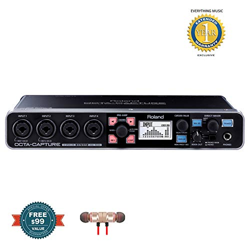 Roland OCTA-CAPTURE - High-Speed USB Audio Interface includes Free Wireless Earbuds - Stereo Bluetooth In-ear and 1 Year Everything Music Extended Warranty
