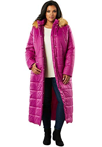 Length Parka Quilted - Roamans Women's Plus Size Maxi Length Quilted Parka with Hood - Rich Magenta, M