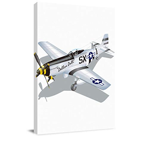 (Luck Sky Art Life Design Canvas Wall Decor P-51 Dallas Doll Print American Air Force Classic Plane Modern Artwork Pictures Prints 18x12in Framed by Wood, Ready to)