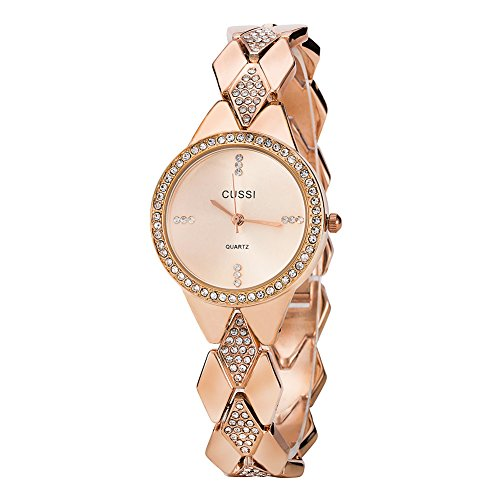 Ladies Crystal Bracelet Dress Wrist Watch for Women - Female Rose Gold (Womens Watch Dress Crystal)