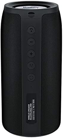 Bluetooth Speaker, MusiBaby M88 Speaker,Loud,Outdoor, Portable,Waterproof,Wireless Speakers,Dual Pairing, Bluetooth 5.0,Loud Stereo,Booming Bass,30H Playtime for Home Party,Backyard,Travel,Pool(Black)