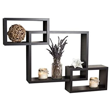 Danya B. Intersecting Boxes Espresso Color Wall Shelf