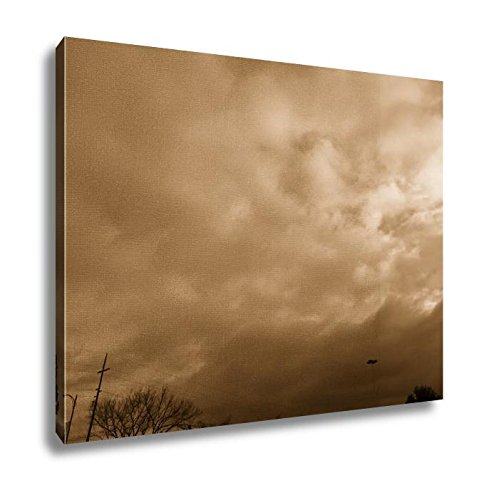 Ashley Canvas At Dusk Sun Setting With Clouds Near Guadalupe Trail, Home Office, Ready to Hang, Sepia 20x25, AG6535711 by Ashley Canvas