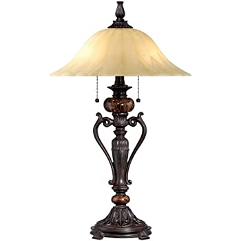 Ordinaire Amor Collection Glass Shade Table Lamp In Bronze