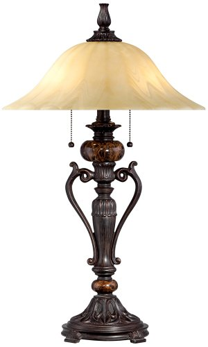 Amor Collection Glass Shade Accent Table Lamp in Bronze - Antique Glass Lamp Shades
