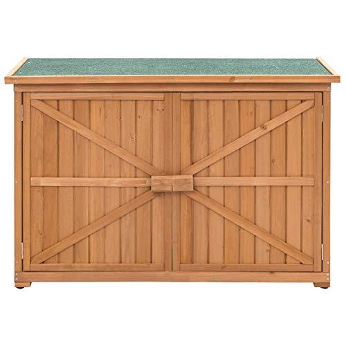 Roof Asphalt (BeUniqueToday Double Doors Fir Wood Garden Yard Outdoor Storage Cabinet with Different Size Shelves, Green Asphalt Roof)