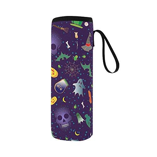 Silly Meow Merry Halloween Custom 2.75 Oz Neoprene Water Bottle Sleeve (Large Size) -