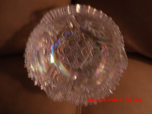 Vintage L E Smith Iridescent Carnival Glass Pinwheel and Sawtooth Rim Bowl Approx. 7 1/2 Inch -