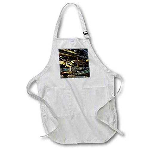 3dRose Alexis Photography - Objects Cold Steel - Cold steel - daggers, axes, dirks and other weaponry - Medium Length Apron with Pouch Pockets 22w x 24l (apr_270852_2)