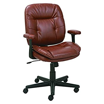 Oif St4859 Swiveltilt Leather Task Chair, Fixed T-bar Arms, Chestnut Brown 1