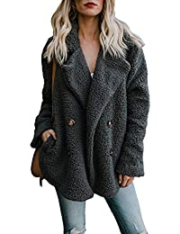 Womens Fleece Open Front Coat Pockets Outerwear