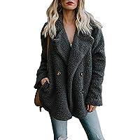 HOTAPEI Women's Fuzzy Fleece Open Front Cardigan Jacket Coat Outwear Pockets
