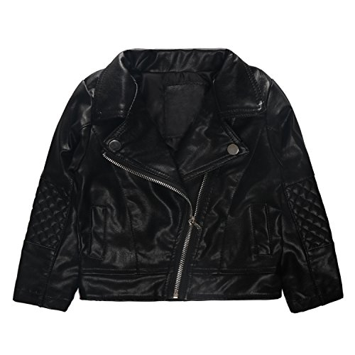 Girls' Motorcycle Faux UP Leather Diagonal Zipper Pockets Jacket Coat Black Size 2T