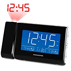 Magnasonic Alarm Clock Radio with USB Charging for Smartphones & Tablets, Time Projection, Auto Dimming, Dual Gradual Wake Alarm, Battery Backup, Auto Time Set, Large 4.8 LED Display, AM/FM (CR64W)