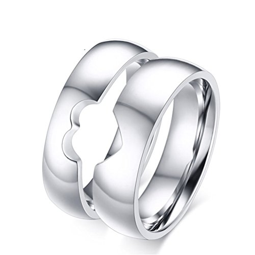 Men Women 5-6mm Stainless Steel Ring Couples Half Heart Matching Puzzles Wedding Engagement Eternity Band ()
