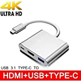 TERSELY 3IN1 USB 3.1 Type-C USB-C to HUB HDMI Adapter Converter, USB Type C to 4K HD HDMI with USB-C Data Charging Port Dock Cable for Apple MacBook iPad Pro Nintendo Switch
