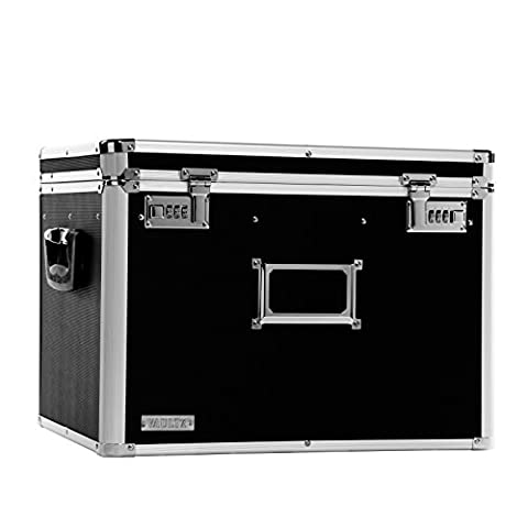 Vaultz Locking Chest, Letter and Legal Size, 17.5 x 14 x 12.5 Inches, Black (VZ01008) - Locking Security Bags