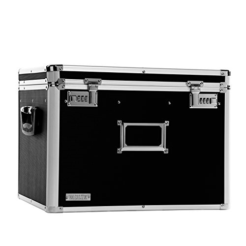 Vaultz Locking Chest, Letter and Legal Size, 17.5 x 14 x 12.5 (Black Metal Chest)