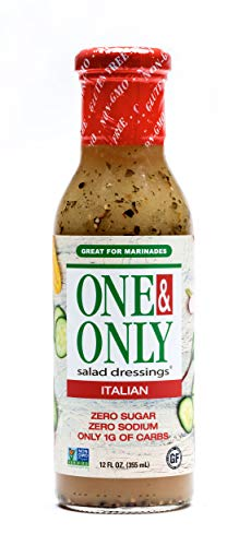 One&Only Italian Dressing Salad Dressing, 12 fl.oz., Sugar Free Keto Salad Dressing and Marinade, Made with Organic and non-GMO Ingredients, Gluten Free, Vegan, Low Sodium. Project non-GMO verified.