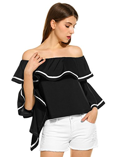 Women Off The Shoulder Blouse, Bell Sleeve Bardot Neckline With Ruffle Overlay Flare Top (Large, - Black Havana