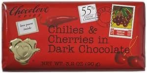 Chocolove Chocolate bar chili & cherry 3.2 OZ