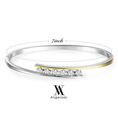 Angelady Gold Plated Infinity Bracelets Endless Love 7 Inch Bangle Bracelets Gift for Girlfriend Women Mom Crystals from Swarovski, Graduation Wedding Present Girl Birthday Gifts
