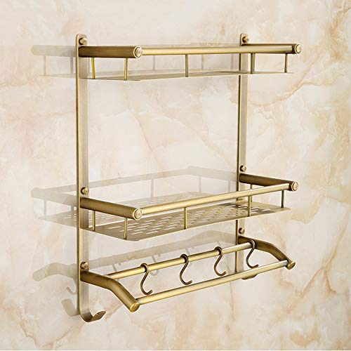 QOUP Multi-Functional Towel Rack, Wall-Mounted matt Brass Stainless Steel Towel Rack with Double Towel bar for Other Items