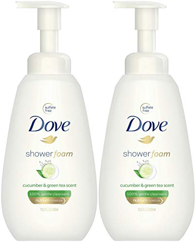 Foam Body Soap - Dove Shower Foam Body Wash - Cucumber & Green Tea Scent - Net Wt. 13.5 FL OZ (400 mL) Per Bottle -...