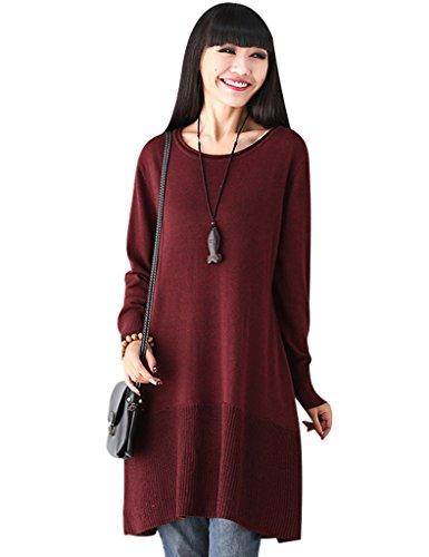 Youlee Mujeres Otoño Redondo Collar Largo Manga De punto Suéter Vestir Rojo Fit EU 36-46