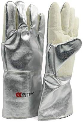 手袋 高温耐性手袋工業用のやけど防止手袋5本指厚いアルミ箔素材銀 LMMSP