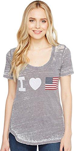 Allen Allen Womens Heart Flag Tee Dark Grey LG (Women's 12-14) One (Allen Allen Short Sleeve T-shirt)
